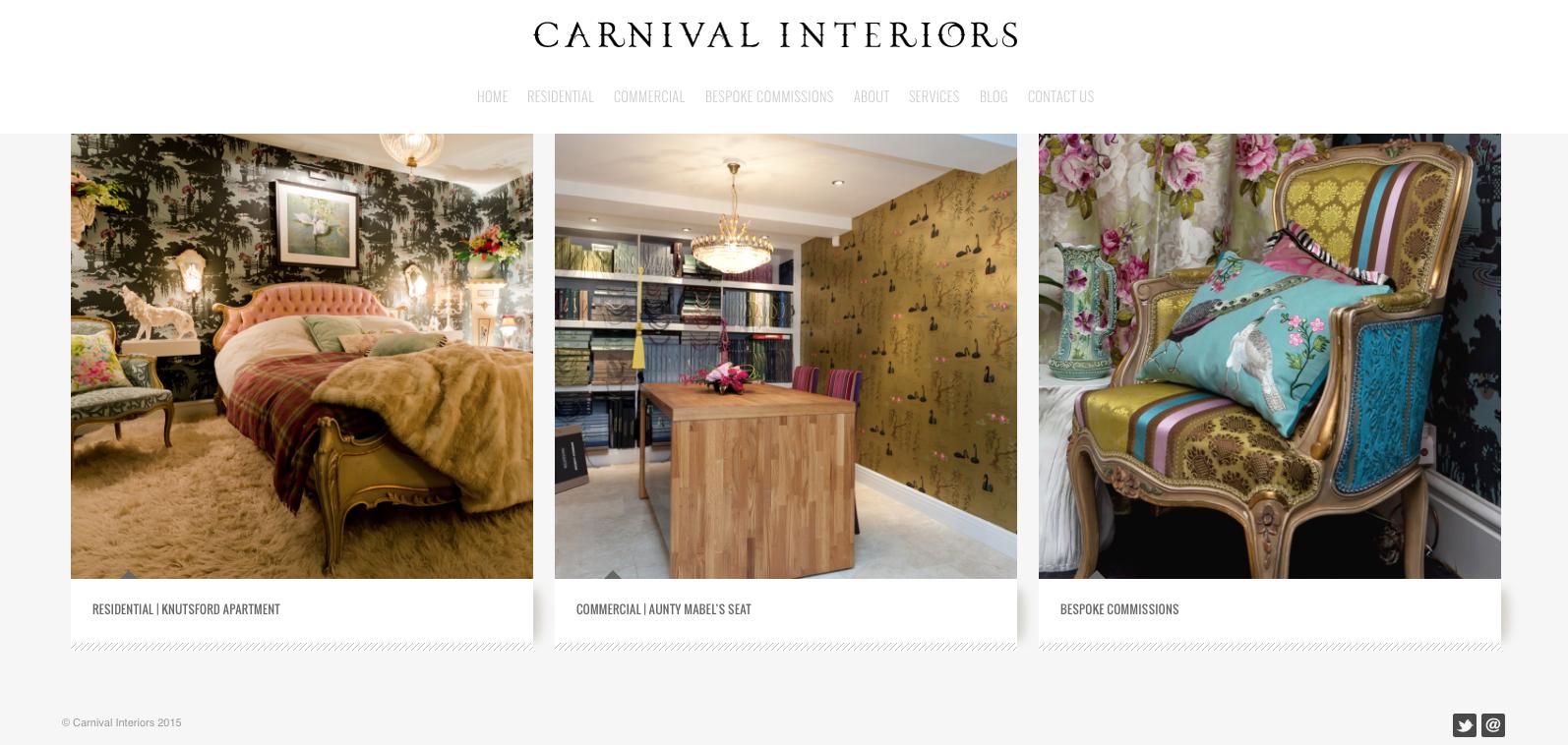 Carnival Interiors, Knutsford, website designed by Damsel in Design