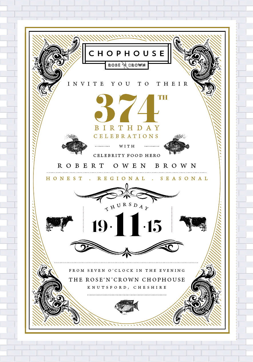 Rose and Crown Chophouse Menu, 2015